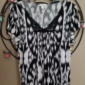 Dressbarn Sz 2X Black White Shirt Top 1X